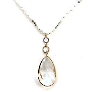 Necklace 1205b 77 Pomina clear tear drop gem bead necklace white