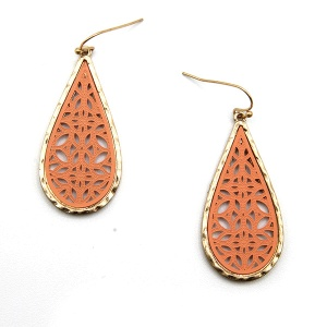 Earring 5790 77 Pomina contemporary filigree tear drop earrings gold coral
