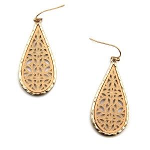 Earring 5784 77 Pomina contemporary filigree tear drop earrings gold nude