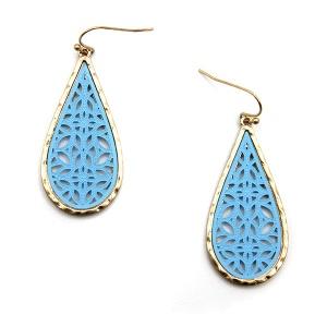 Earring 5782 77 Pomina contemporary filigree tear drop earrings gold blue