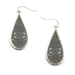 Earring 5786 77 Pomina contemporary filigree tear drop earrings silver gray