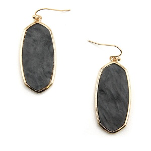 Earring 5058a 77 Pomina contemporary resin hex marble earrings black