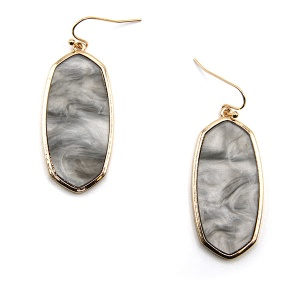Earring 5093a 77 Pomina contemporary resin hex marble earrings gray