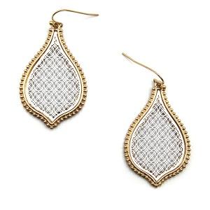 Earring 5796 77 Pomina contemporary filigree tear drop earrings gold white