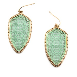 Earring 4841a 77 Pomina contemporary filigree shield earrings gold mint