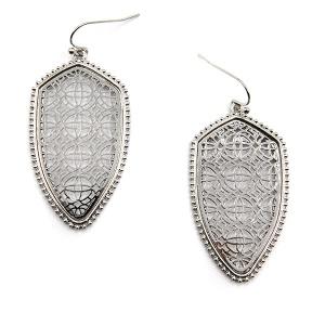 Earring 4741 77 Pomina contemporary filigree shield earrings silver