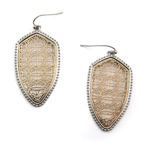 Earring 5046 77 Pomina contemporary filigree shield earrings silver gold
