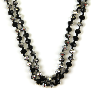 Necklace 517a 77 Pomina 30 60 inch bead necklace black silver