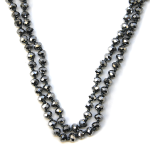 Necklace 1192 77 Pomina 30-60 inch bead necklace hematite