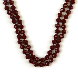 Necklace 087d 77 Pomina 30 60 inch bead necklace burgundy