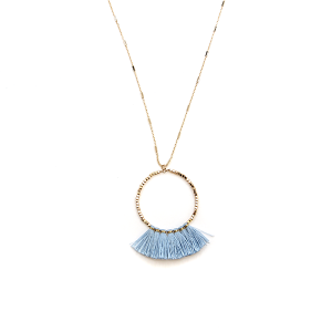 Necklace 347a 78 A Project hoop fringe fan contemporary blue