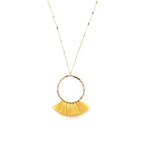 Necklace 2133 78 A Project hoop fringe fan contemporary yellow