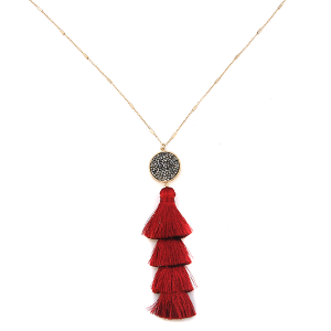 Necklace 1253e 78 A Project circle stone tassel dangle red