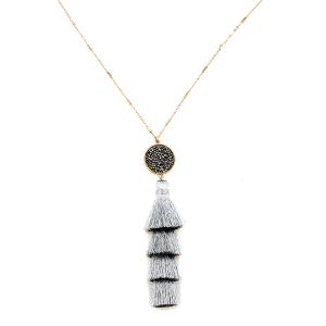 Necklace 1208o 78 A Project circle stone tassel dangle silver