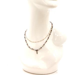 Necklace 344b 78 A Project double line bead necklace bar pendant multcolor