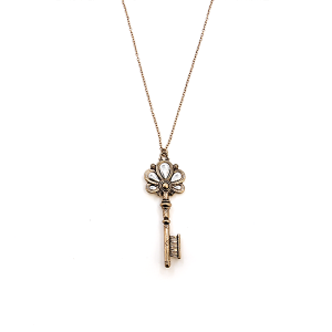 Necklace 783 01 CiTY floral key pendant gold silver