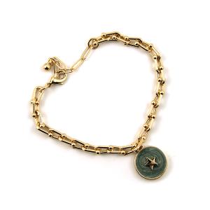 Bracelet 368b 78 A Project chain bracelet star dark mint