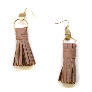 Earring 2705c 78 A Project contemporary tassel earrings leather d-pink