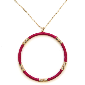 Necklace 2125a 78 A Project contemporary hoop necklace fuchsia