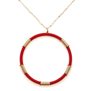 Necklace 2121a 78 A Project contemporary hoop necklace red