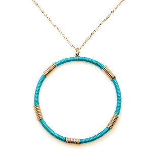 Necklace 2117a 78 A Project contemporary hoop necklace turquoise