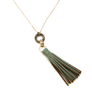 Necklace 854c 78 A Project contemporary tassel necklace leather green