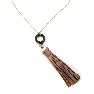 Necklace 853d 78 A Project contemporary tassel necklace leather d-pink