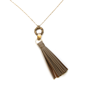 Necklace 869c 78 A Project contemporary tassel necklace leather l-brown