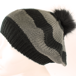 Winter Cap 042 Hatter High Back Drape slouch pom pom Beanie stipe black gray