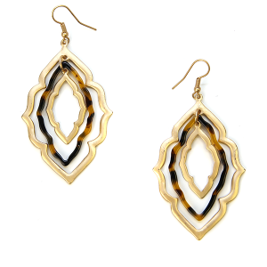 Earring 236h 79 LucyLou filigree earrings drop gold tortoise