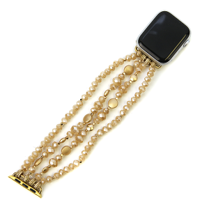 Watch Band 074c 82 Avant contemporary stretch bead watch band 38mm 40mm beige