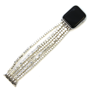 Watch Band 122c 82 Avant contemporary stretch bead watch band 38mm 40mm silver