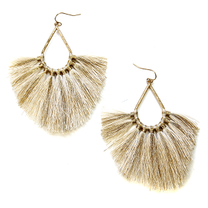 Earring 2999c 82 Avant contemporary tassel earrings tear drop gold accent ivory