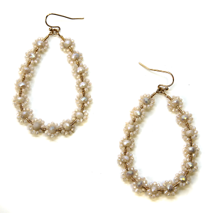 Earring 2973 82 Avant tear drop earrings flower beads ivory