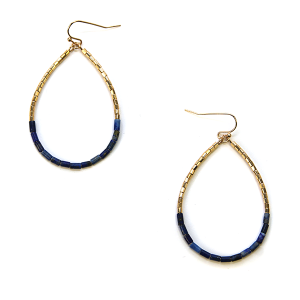 Earring 2993a 82 Avant contemporary tear drop earrings beads gold navy blue