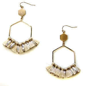 Earring 2705d 82 Avant contemporary hex drop tassel earrings ivory