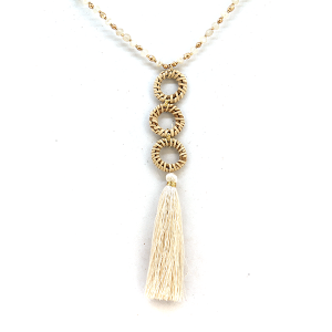 Necklace 2110a 82 Avant contemporary bead tassel necklace ivory