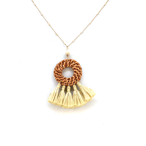Necklace 2108 82 Avant contemporary tassel fan necklace ivory