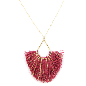 Necklace 1025 82 Avant fringe fan tear drop contemporary necklace fuchsia