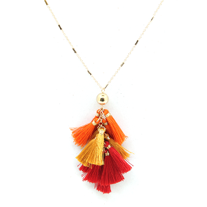 Necklace 1134d 82 Avant dangle tassel necklace orange red