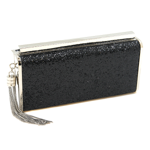 Bella Collection 8412 hard case evening bag glitter black