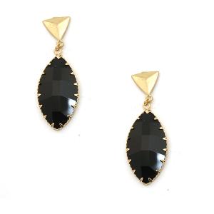 Earring 1141d 84 Avant oval drop dangle stud gem earrings black
