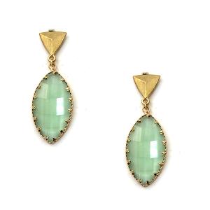 Earring 3679c 84 Avant oval drop dangle stud gem earrings green
