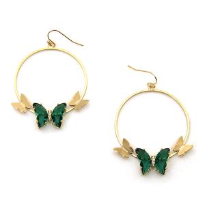 Earring 4216a 84 Avant hoop dangle butterfly gem earrings green