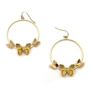Earring 3362c 84 Avant hoop dangle butterfly gem earrings mustard