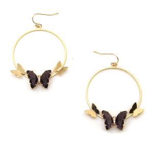 Earring 4019a 84 Avant hoop dangle butterfly gem earrings purple
