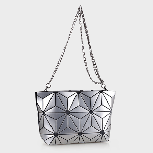 Isabelle 87480A geometric crossbody clutch silver