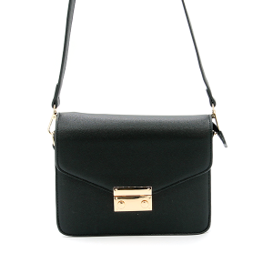 Isabelle Black Contemporary Envelope Closure Clutch Crossbody Handbag