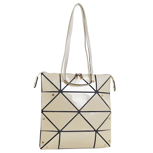 Isabelle 87650 shiny Laser PU foldable tote beige