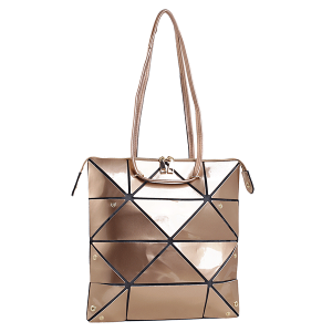 Isabelle 87650 shiny Laser PU foldable tote rose gold